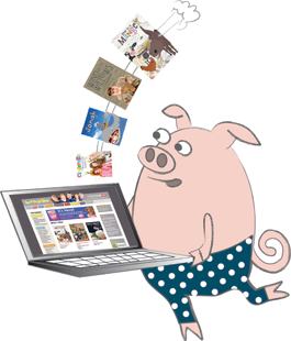 Illustration of pig downloading music