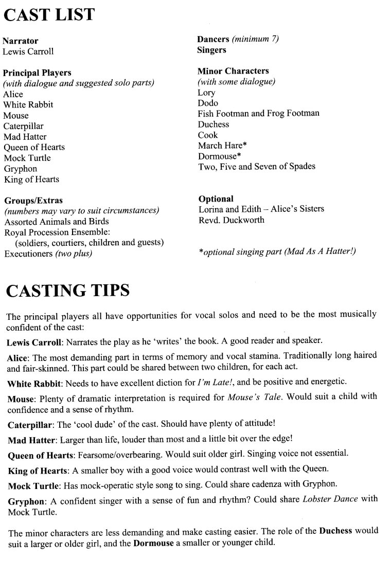 alice in wonderland middle school play script