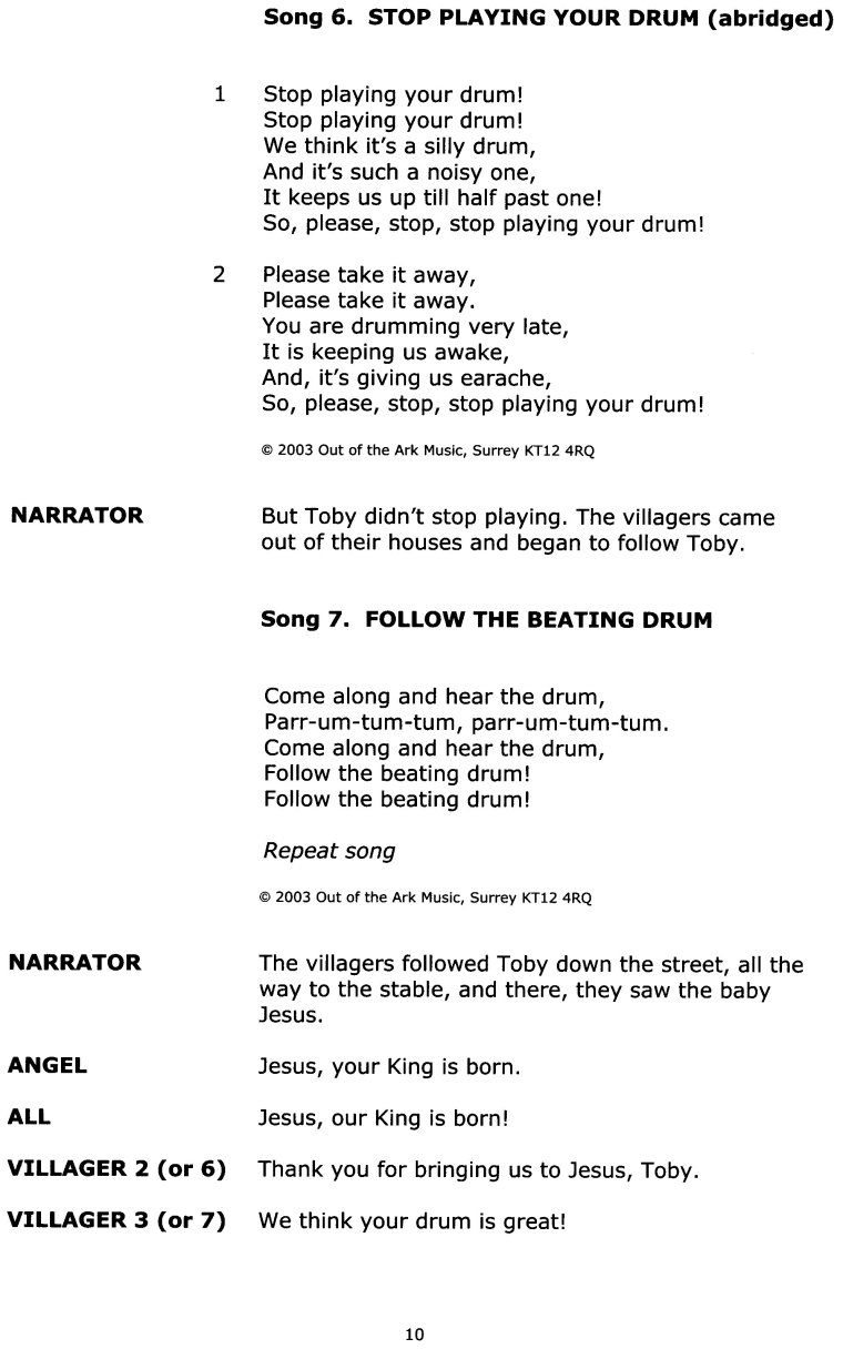 Christmas Play Scripts For Primary School.Toby S Christmas Drum Nativity Play Out Of The Ark Music