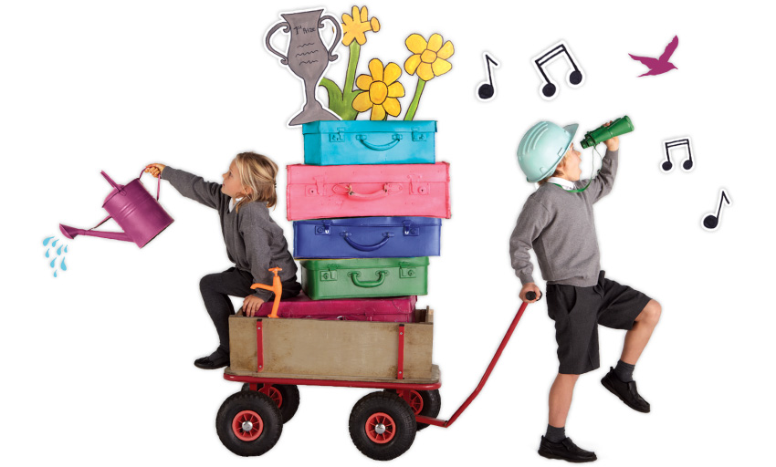 children with luggage