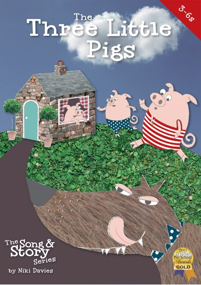 Three Little Pigs fairytale song and story book